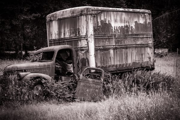 Broken Down - old truck on the Kestner homestead in Quinault, Washington photograph print