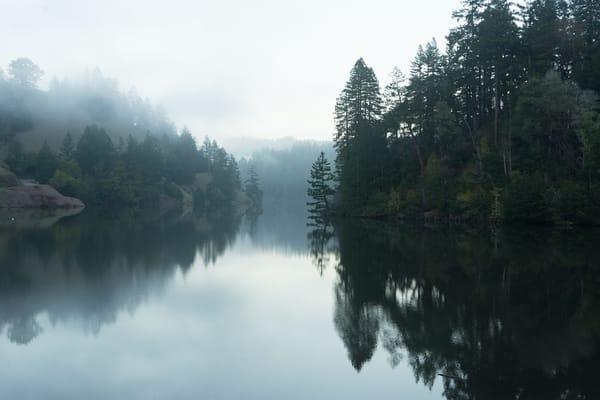 Alpine Dam - foggy sunset in Marin County, California photograph print