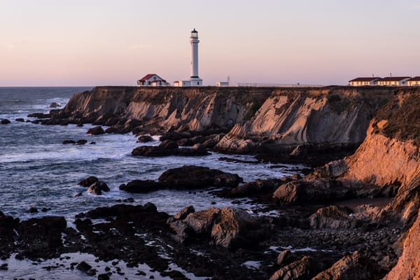 Point Arena Lighthouse - a peaceful sunset in Northern California photograph print