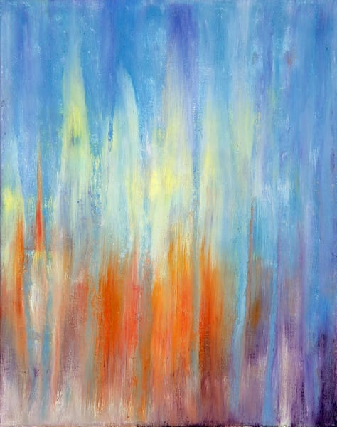 Day 23 Blue And Orange Sunset Rain Art | Rachel Brask Studio, LLC