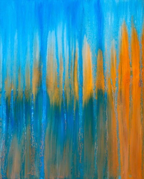 Day 20   April 20 Creamsicle & Blue Sunrise Art | Rachel Brask Studio, LLC
