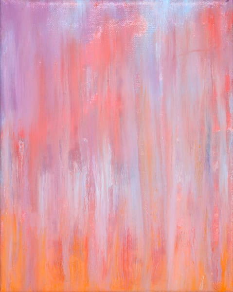 April 16   Day 16   Rainy Pink Studded Sunset Art | Rachel Brask Studio, LLC