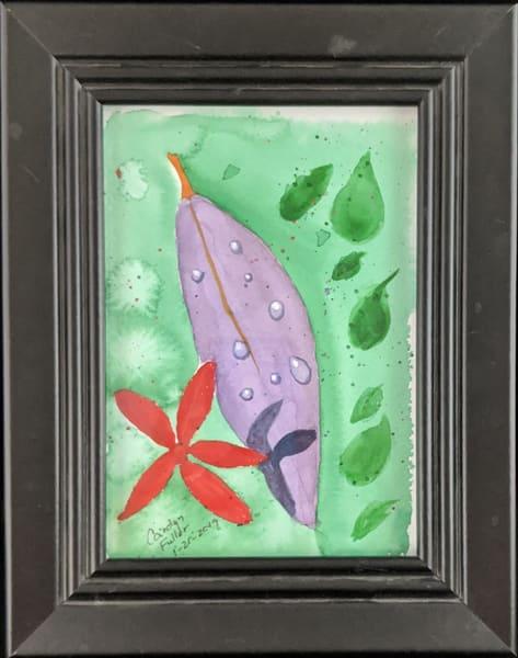 Carolyn Fuller - original artwork - nature - rain - leaves - watercolor - Raindrops on Leaves