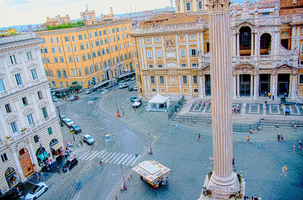 Piazza Di Santa Maria Maggiore Busy Morning Traffic Circle Photography Art | Terri Bahun Fine Art Photography
