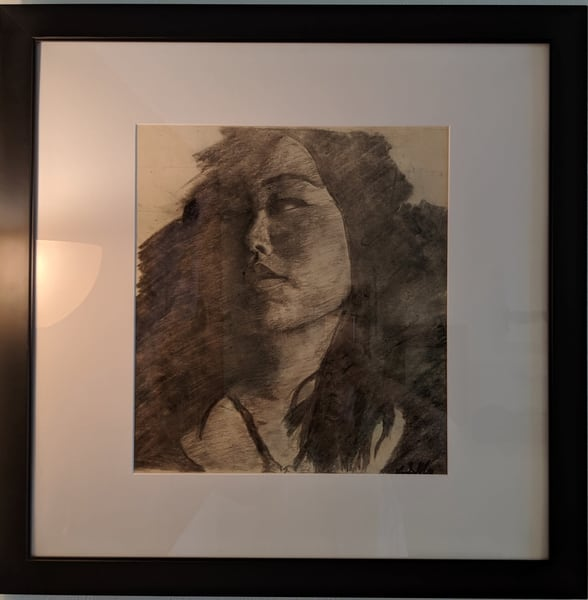 Ryan Smallwood Otero - original artwork - charcoal - figurine - Portrait of Hee-Sun