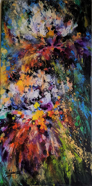 Jo Yancey - Original artwork - abstract - flowers - nature - Irises in Moonglow