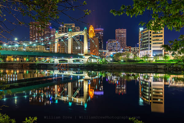 Hennepin Reflections   Minneapolis Skyline Mural Photography Art | William Drew Photography