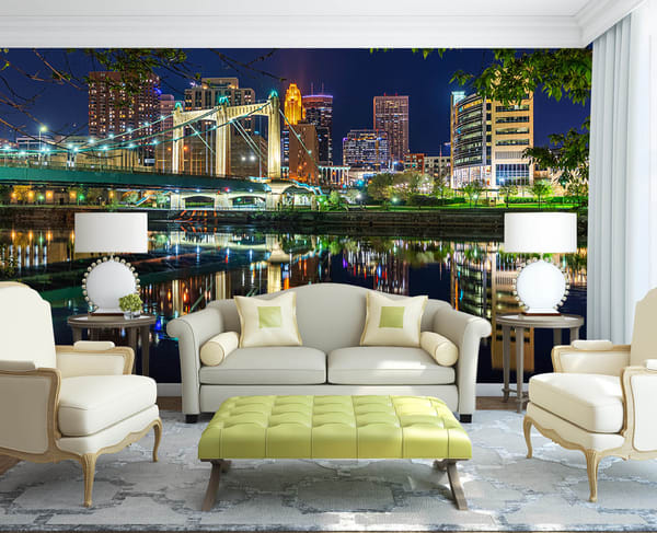 Hennepin Reflections   Minneapolis Skyline Mural Photography Art   William Drew Photography