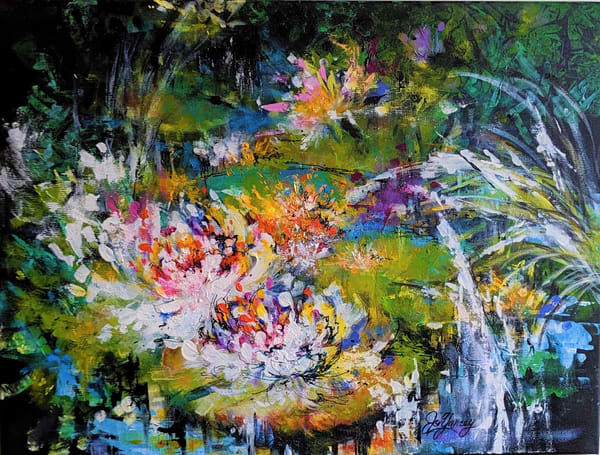 Jo Yancey - original artwork - abstract - nature - pond - Lily Pads In Evening