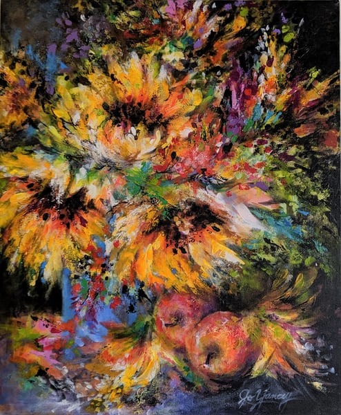 Jo Yancey - original artwork - abstract - sunflowers - still life - Sunflower Floral