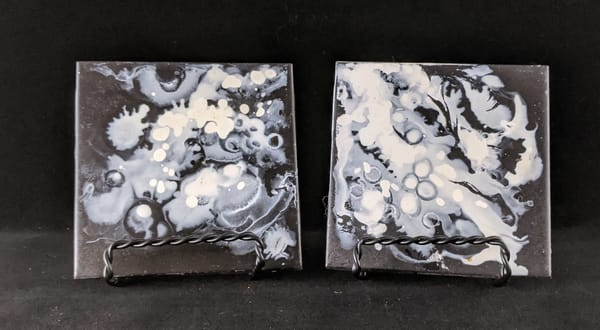 Jo Yancey - original artwork - abstract - ceramic tile - black and white - snow - Snow at Nightfall