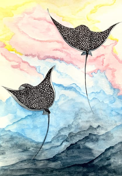 Spotted Eagle Rays majestic ocean life colorful watercolor mixed media print
