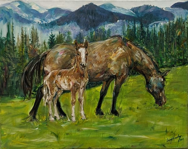 Larry Tinsley - original artwork - nature - animals - horses - Grazing in Montana