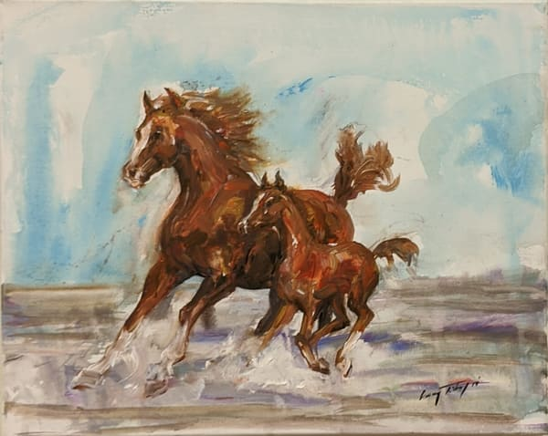 Larry Tinsley - original artwork - nature - animals - horses - Keep Up My Darling