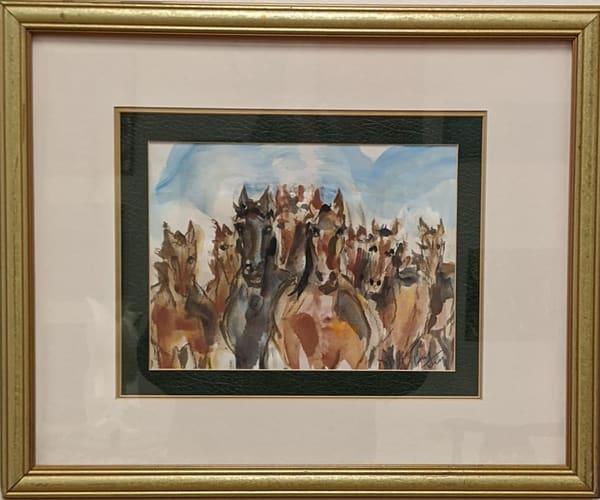 Larry Tinsley - original artwork - watercolor - animals - horses - The Herd