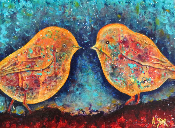 Twilight Bushtits (Sold) Art | Sacred Star Arts