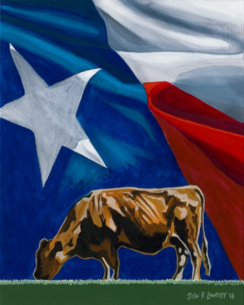 Colorful cow and Texas flag paintings by John R. Lowery, sold as art prints.