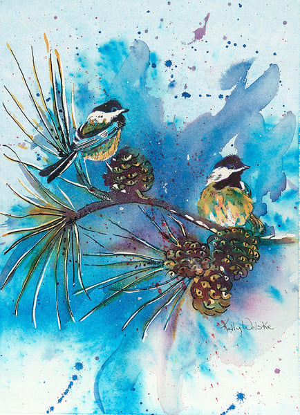"""Blue Chickadees"" fine art print by Kelly Wolske."