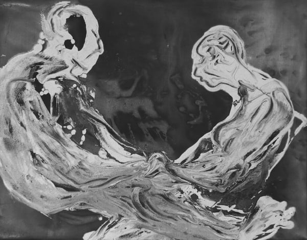 figurative couple, canvas
