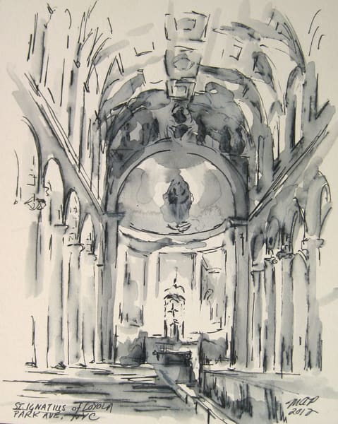 St. Ignatius, Nyc Ink Drawing Art | Michelle Arnold Paine Fine Art