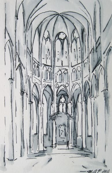 Tournai Cathedral 1 Ink Drawing  Art | Michelle Arnold Paine Fine Art