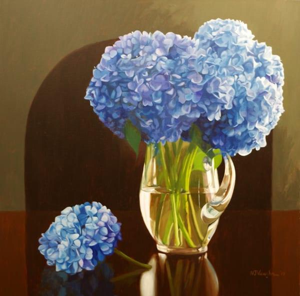 Blue Hydrangeas In A Glass Pitcher Art | Helen Vaughn Fine Art