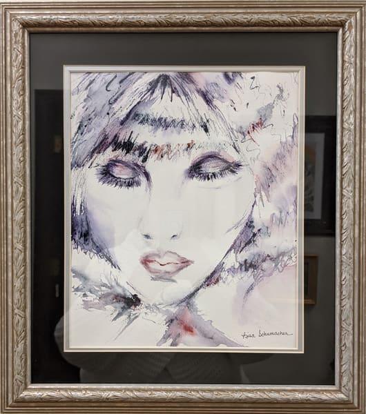 Lisa Schumacher - original artwork - watercolor - lady - face - Lady in Blue
