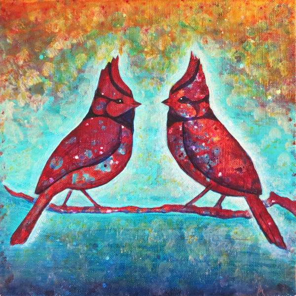 Bridled Titmouses, You Are My Mirror (Sold) Art | Sacred Star Arts