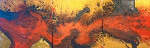 DANCE OF FIRE triptych non objective lila lewis irving