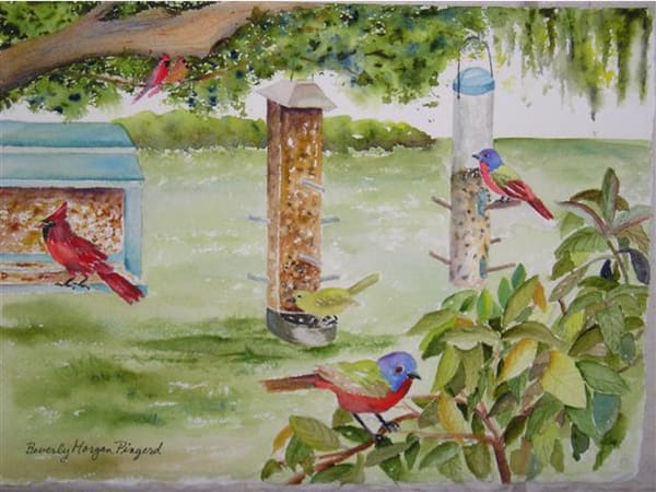 Lunch Time at the Feeders, From an Original Watercolor Painting