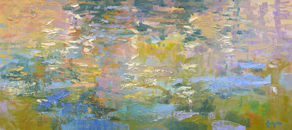 Oversize Water Reflections Painting, Canvas Print by Dorothy Fagan