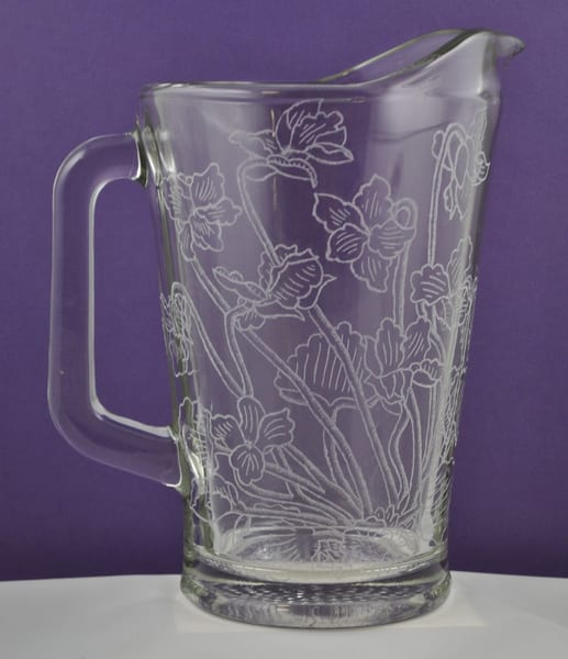 Diana Rossell - original artwork - glass - glass engraving - pitcher - Lazy Summer Blossoms