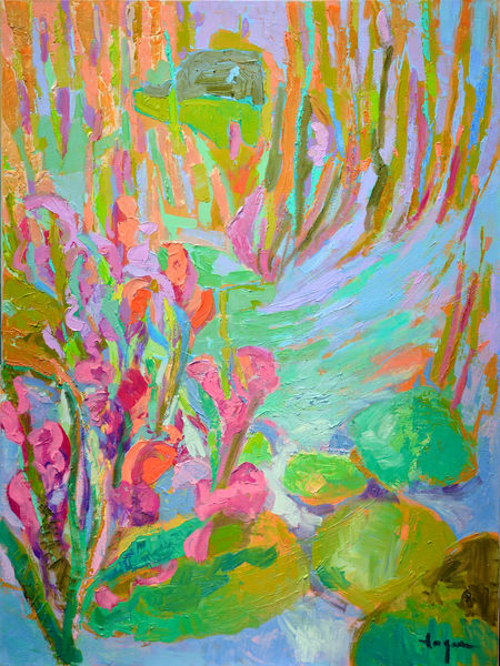 Abstract Waterlilies Painting Fine Art Print by Dorothy Fagan
