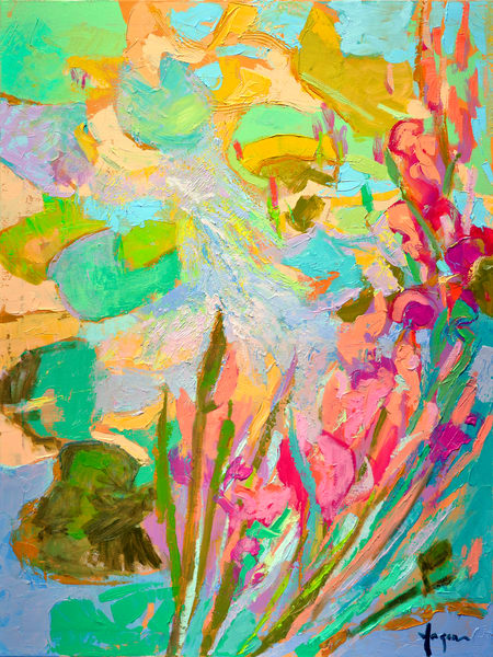 Pink Waterlilies Painting Fine Art Print by Dorothy Fagan