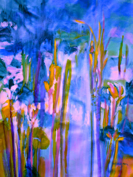 Blue Water Lily Pond Painting Murals by Dorothy Fagan