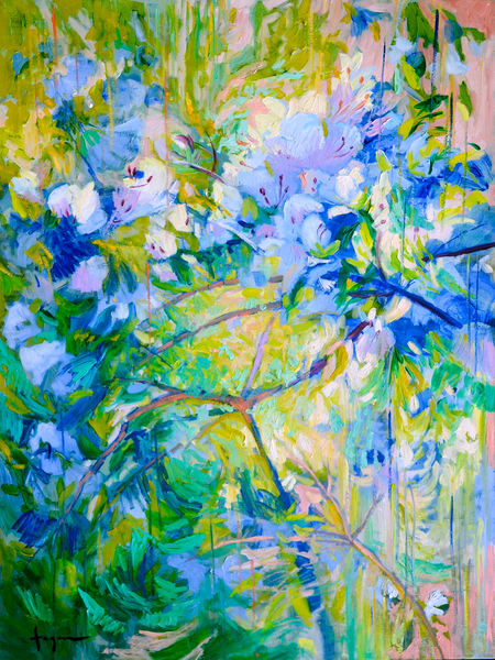 Oversize Azalea White Floral Abstract Painting by Dorothy Fagan