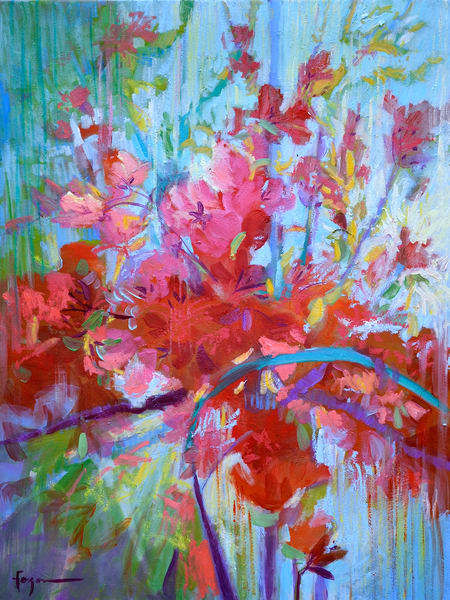 Red Abstract Flowers Painting, Fine Art Print by Dorothy Fagan