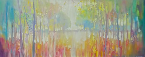 wide panoramic painting of an autumn landscape with stag