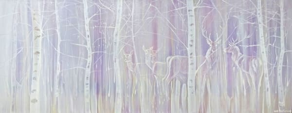 panoramic painting of a winter landscape with deer