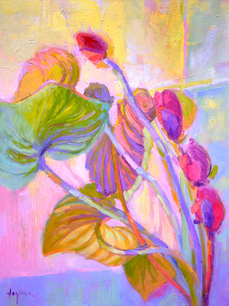 Red Orchid Painting, Limited Edition Print by Dorothy Fagan