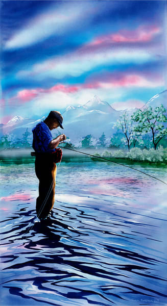 Solo in Paradise, Fly Fishing art print of Yellowstone River, Paradise Valley MT. Original artwork by Montana artist Joe Ziolkowski.