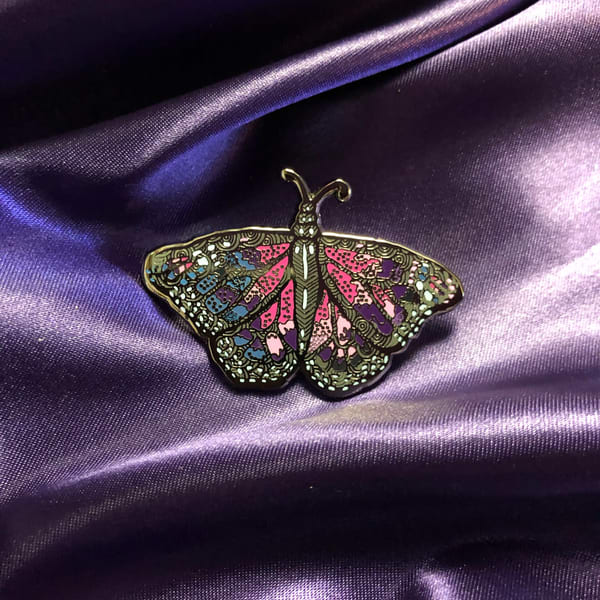 Amethyst Butterfly Enamel Pin | Water+Ink Studios