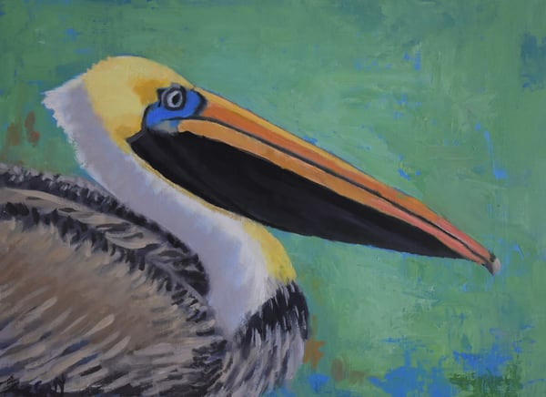 Pelican On Green   Original Oil & Cold Wax Art | Sharon Guy