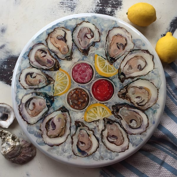 Oysters On The Half Shell Lazy Susan Art | Kristine Kainer