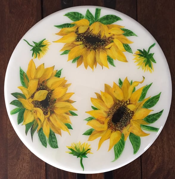 Sunflowers Lazy Susan by Artist Kristine Kainer
