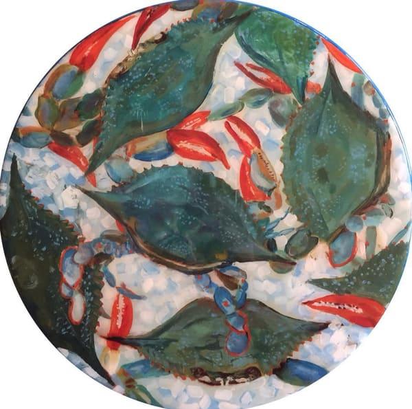 Blue Crabs Lazy Susan by Artist Kristine Kainer