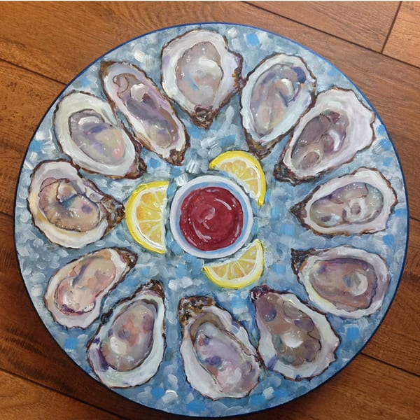 Oysters on Ice Lazy Susan by Artist Kristine Kainer