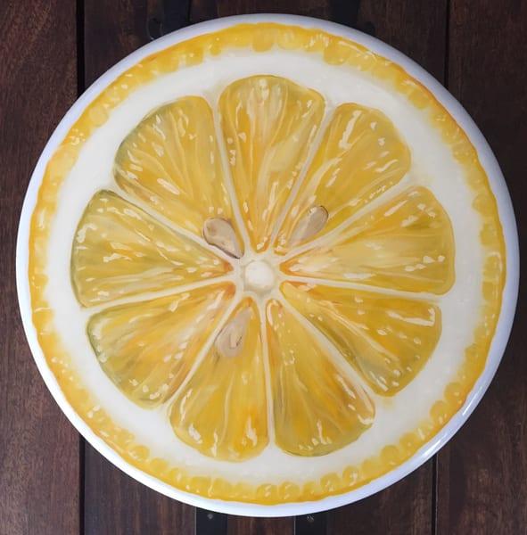 Lemon Slice Lazy Susan by Artist Kristine Kainer