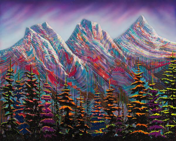 Canmore, Canada, Mountains, landscape, colourful-landscape, pointillism, purple