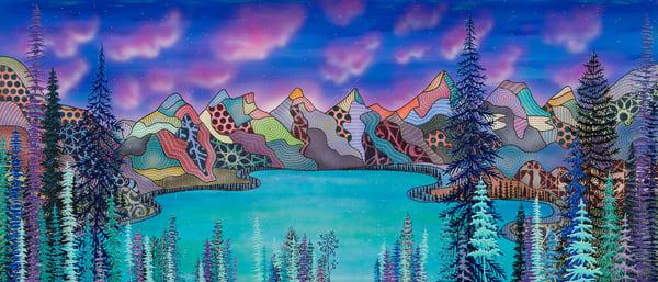 mountains, Canada, Moraine-Lake, landscape-painting, modern-art,